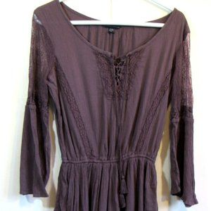 American Eagle Outfitters 3/4 Sleeve Purple Tunic